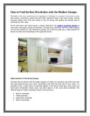 How to Find the Best Wardrobes with the Modern Designs.PDF