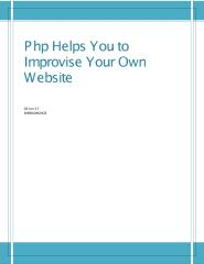 Php Helps You to Improvise Your Own Website.pdf