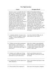 First Night Questions - versão Francês - Português..doc