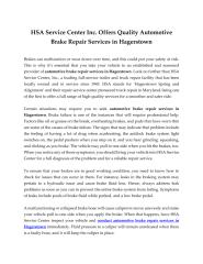 HSA Service Center Inc. Offers Quality Automotive Brake Repair Services in Hagerstown.pdf